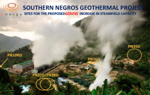 Circles in this panoramic photo of the Southern Negros Geothermal Power Plant in Valencia, Negros Oriental pinpoint the location of the geothermal wells that EDC will construct as part of its 60-megawatt expansion in capacity.