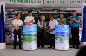 First Gen's inauguration ceremony at the Clean Energy Complex in Santa Rita, Batangas on November 11. In photo are First Gen Chair & CEO Federico R. Lopez, Senator Sherwin Gatchalian, Lopez Group Chair Emeritus Oscar M. Lopez, Energy Secretary Alfonso G. Cusi, former Senator Sergio Osmeña, and First Gen President and COO Francis Giles Puno. (Photo courtesy of DOE).